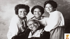 """Photo Left to right: Mavis, Cleotha and Yvonne Staples. Roebuck """"Pops"""" Staples is seated. From their 1977 Warner Bros. Records LP """"Family Tree."""""""