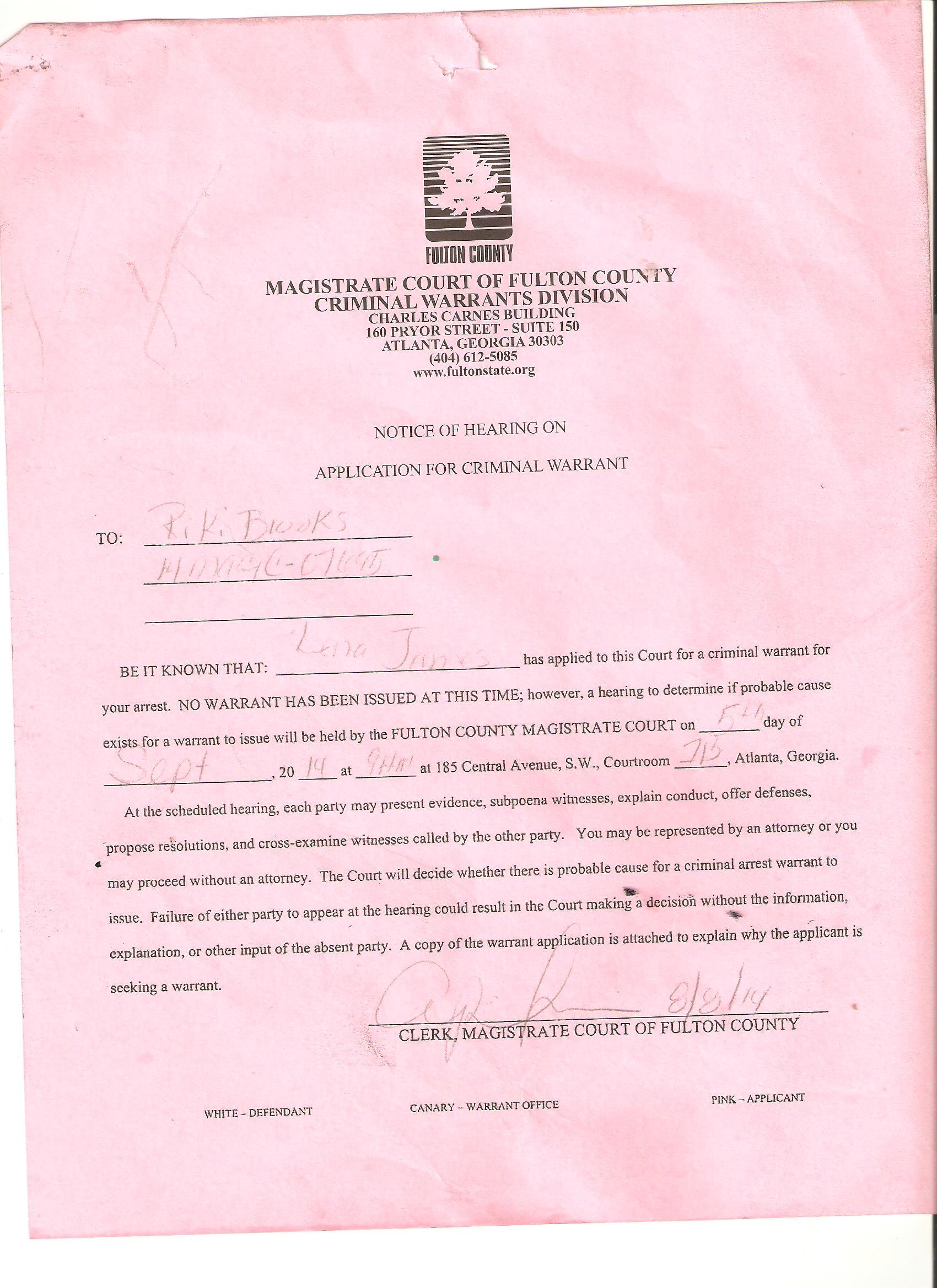 Lena_James_Magistrate_Court_Criminal_Warrant_for_Riki_Brooks