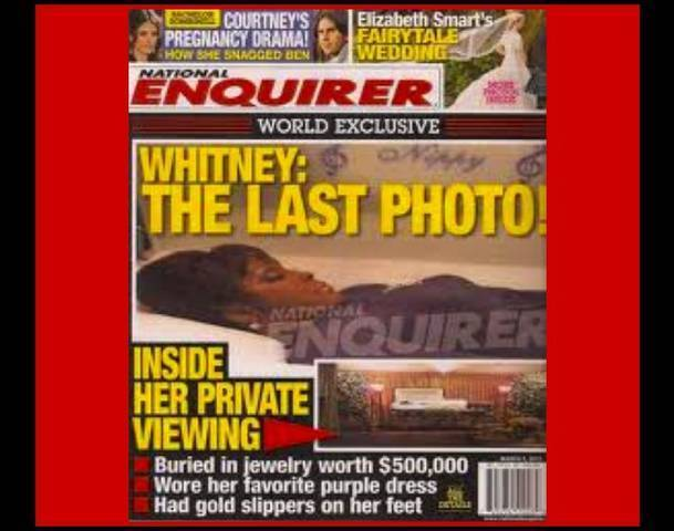 National Enquirer photo of Whitney Houston in Casket