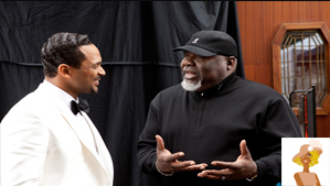"""""""Mike Epps and T.D. Jakes on set of Sparkle"""""""