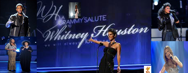 """Whitney Houston, usher, halle Berry, jennifer hudson, cece winans, yolanda agams at Grammy's we will always love you tribute"