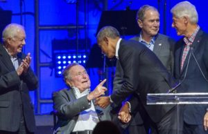 Former US presidents gather for hurricanes fundraiser
