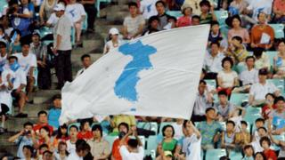 """South Korean supporters wave """"reunification"""" flags for the North Korean football team during a match between South and North Korea at the East Asian Football Championship in Jeonju, Seoul, 4 August 2005"""